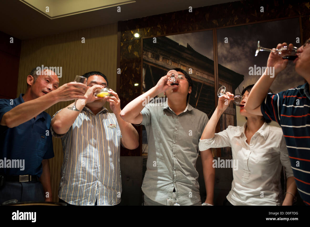 Chinese people drinking 'bottoms up.' - Stock Image