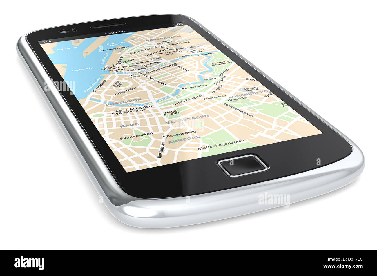 Black Smartphone with a GPS map. City Centre. - Stock Image