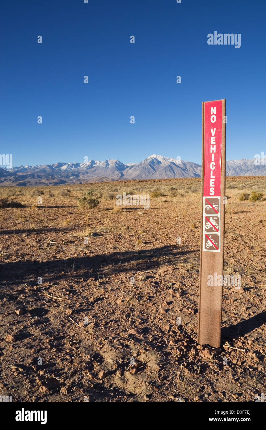 no vehicles sign on the volcanic tableland near Bishop California - Stock Image