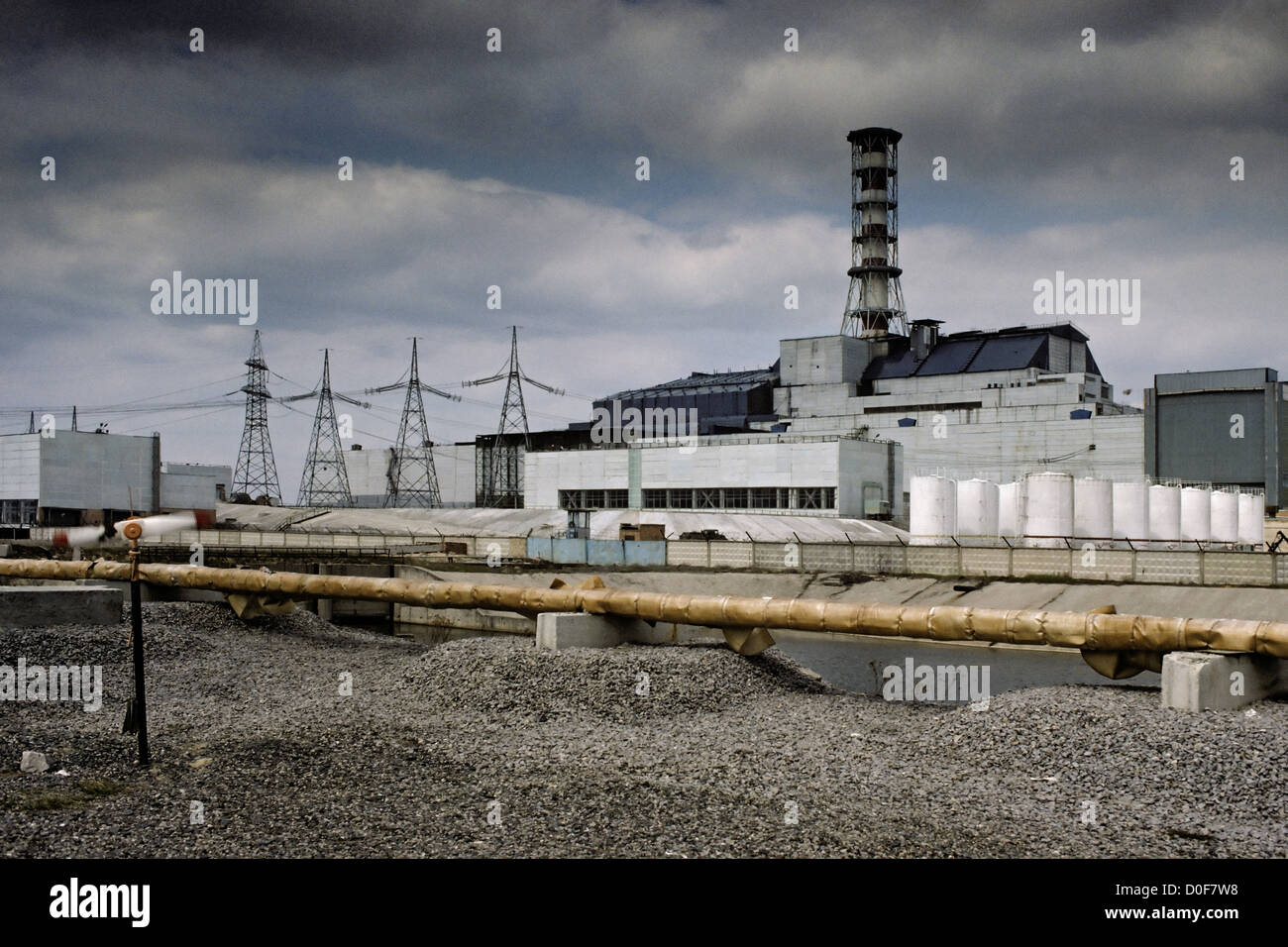 The damaged Chernobyl nuclear reactor. Chernobyl was the site of one of the worst nuclear accidents in history, - Stock Image