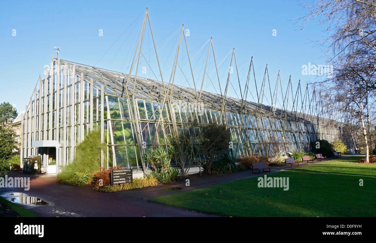 Late autumn view of Glasshouses in Royal Botanic Garden Edinburgh Scotland - Stock Image
