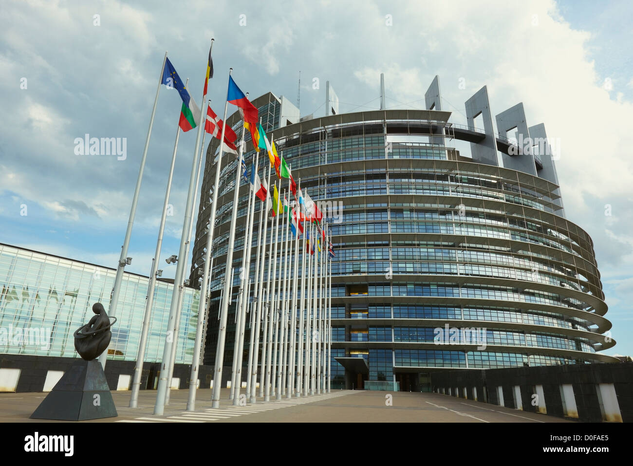 European Parliament seat, Louise Weiss building, Strasbourg, Alsace, France - Stock Image