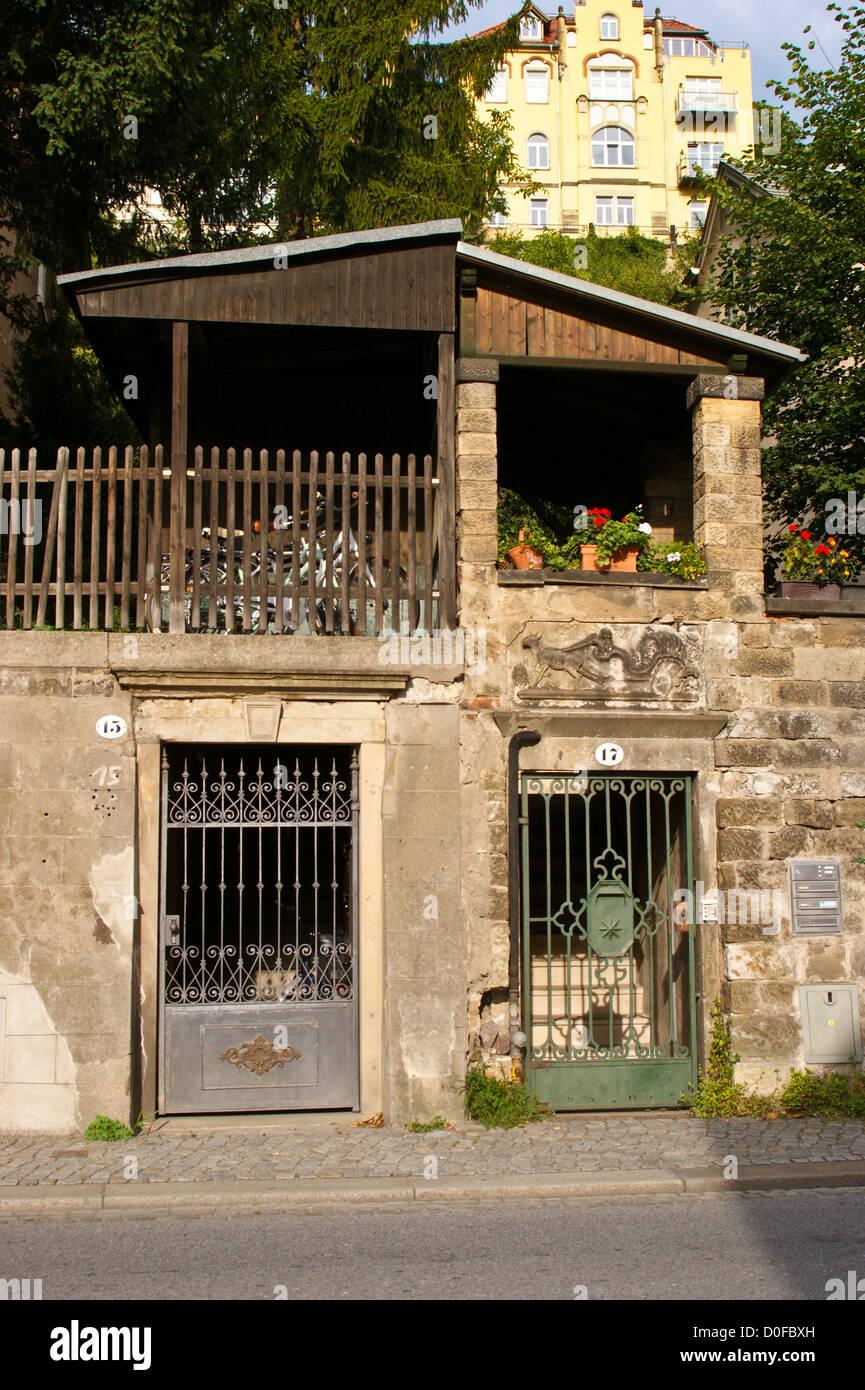 Wrought iron garden gates, Loschwitz, Dresden, Sachsen, Saxony Stock ...