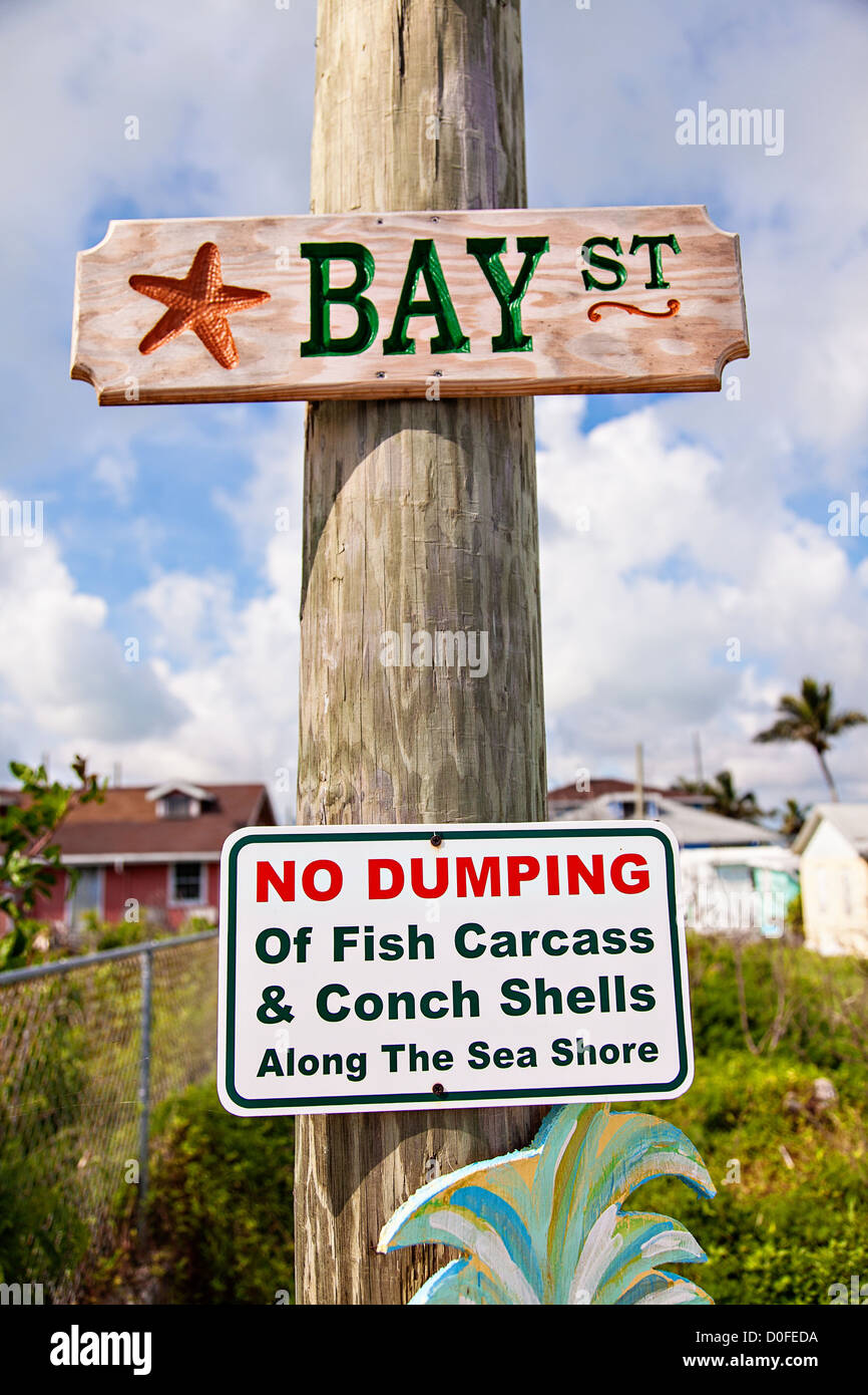 Street sign in the village of New Plymouth, Green Turtle Cay, Bahamas. - Stock Image