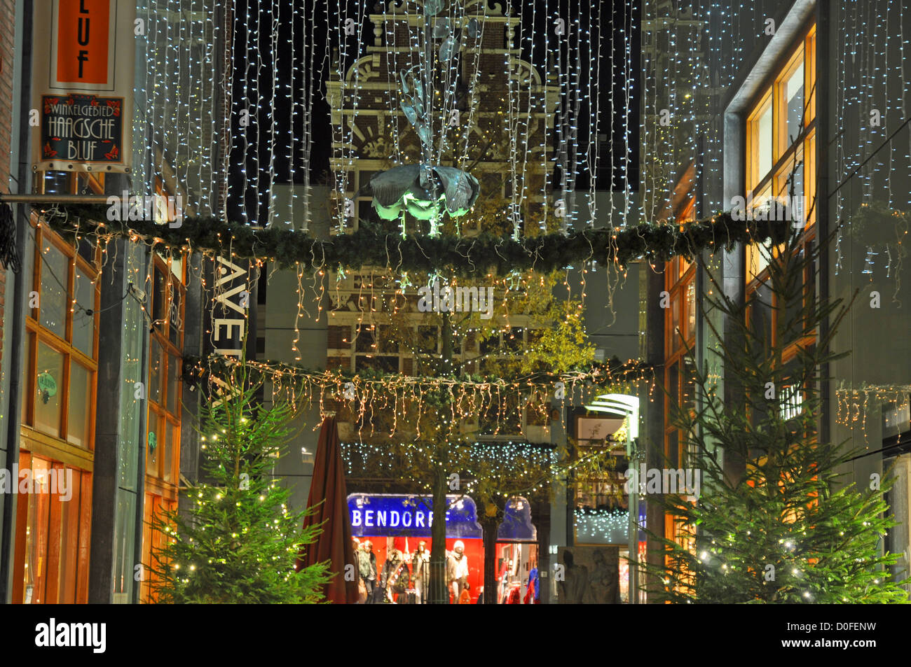 Christmas lights in a corner of the old town section of The Hague ...