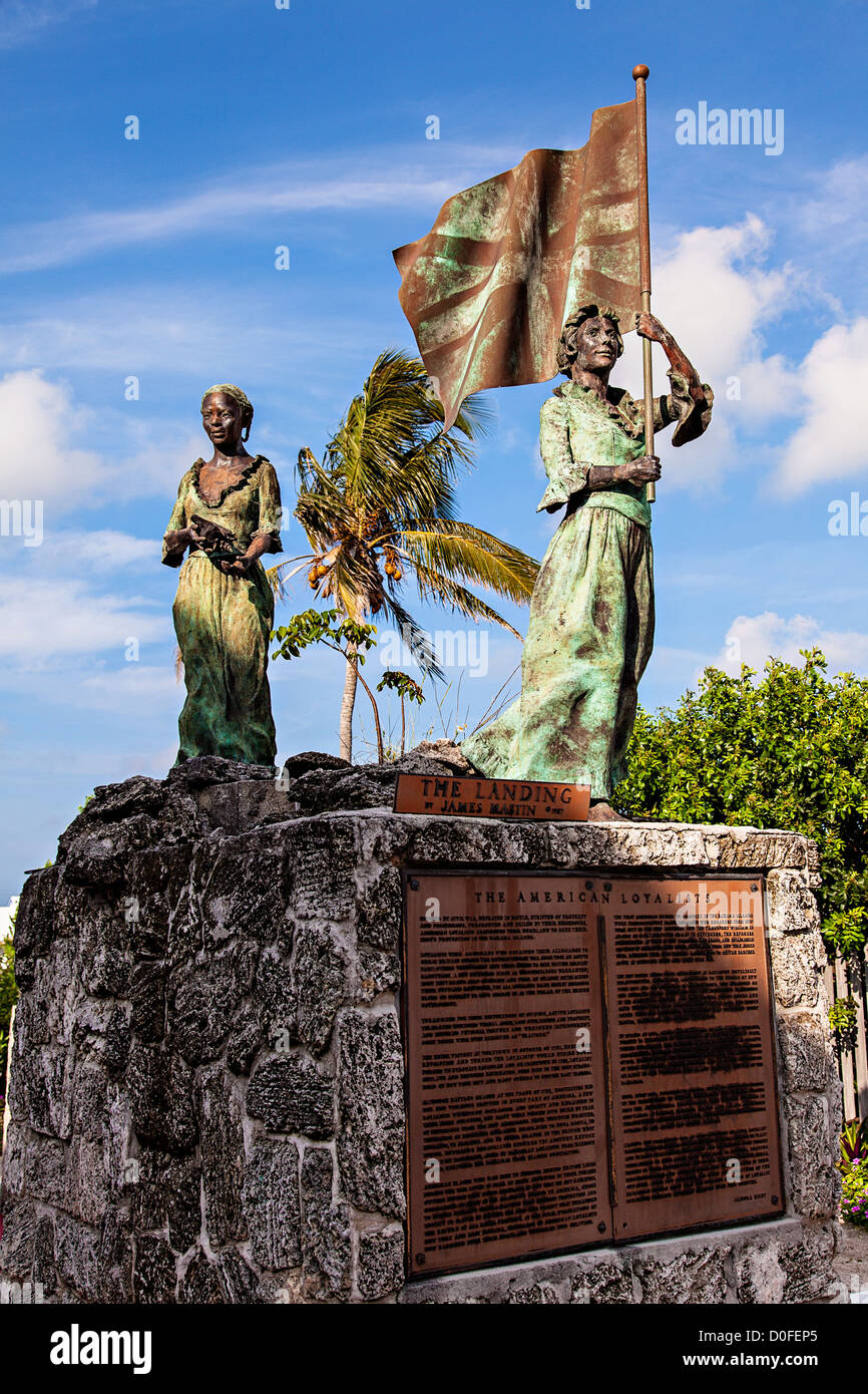Statue honoring the loyalists who left America following the Revolutionary War at the Loyalist Memorial Sculpture - Stock Image