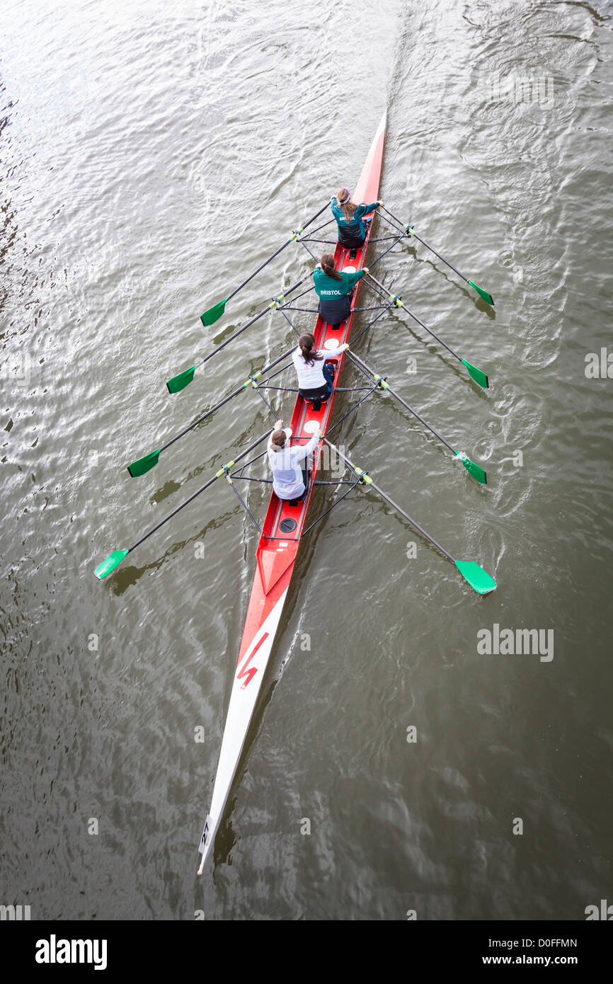 Women's coxless quad scull, viewed from above, rowing in the Head of the River Race, Bristol, February 2012. - Stock Image
