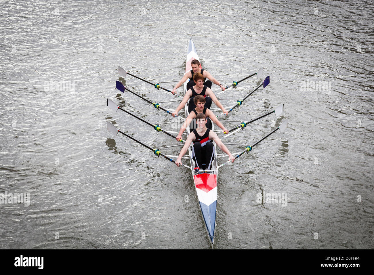 Men's coxless quad sculls, rowing in the Head of the River Race, Bristol, February 2012. - Stock Image
