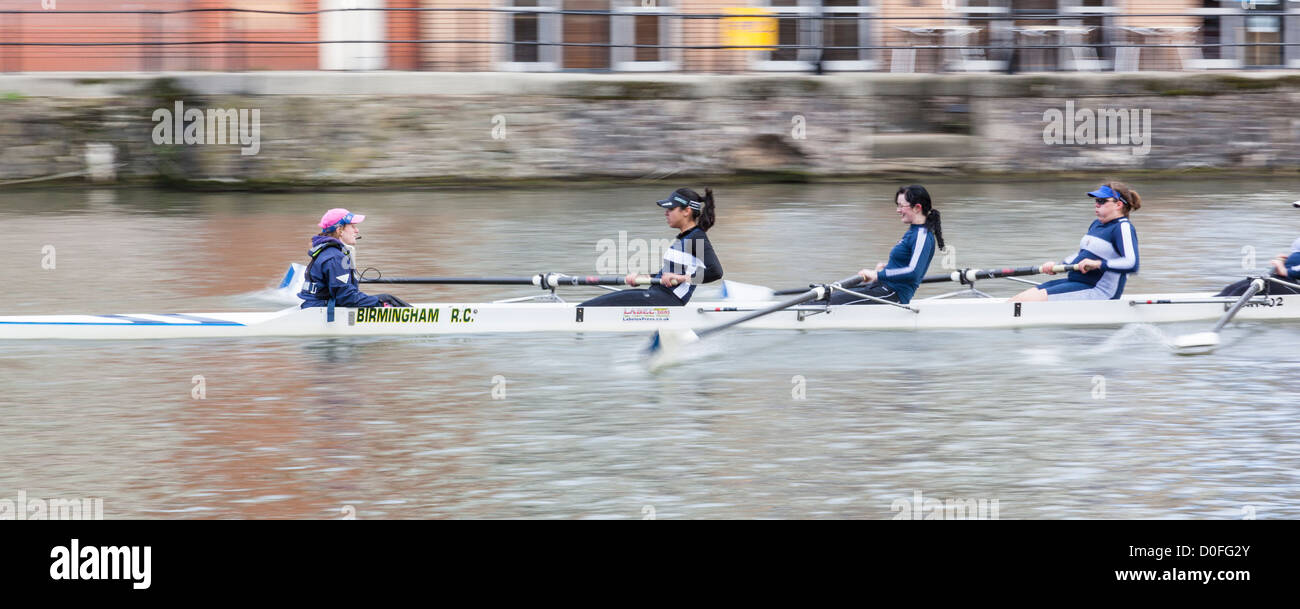 Women's coxed four rowing in the Head of the River Race, Bristol, February 2012. - Stock Image
