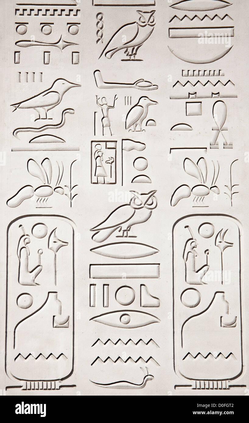 Hieroglyph Signs on an Obelisk - Stock Image