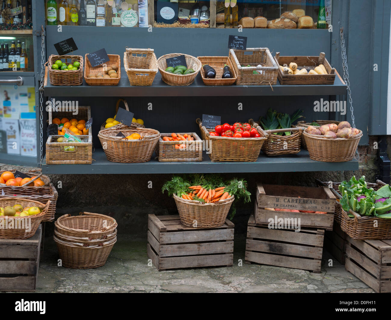 Greengrocer's display in St Ives, Cornwall Stock Photo