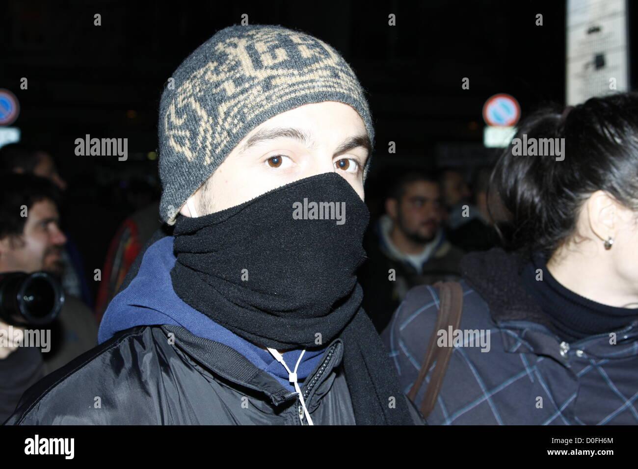 Sofia, Bulgaria; 24th November, 2012. Masked demonstrator during the demonstration of the group 'Tomato Revolution' - Stock Image