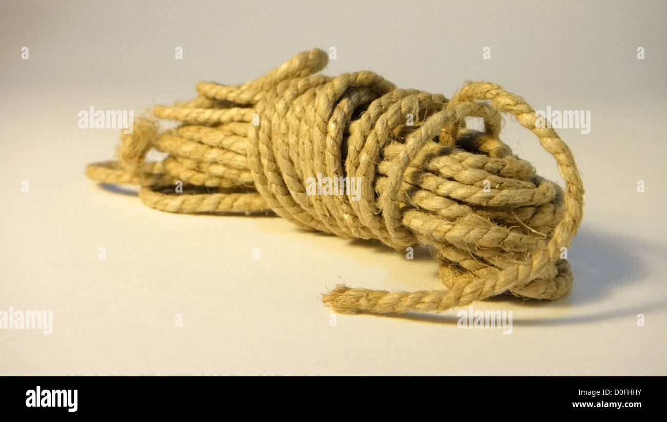 hemp rope,rope, all tied, case closed, ball of string - Stock Image
