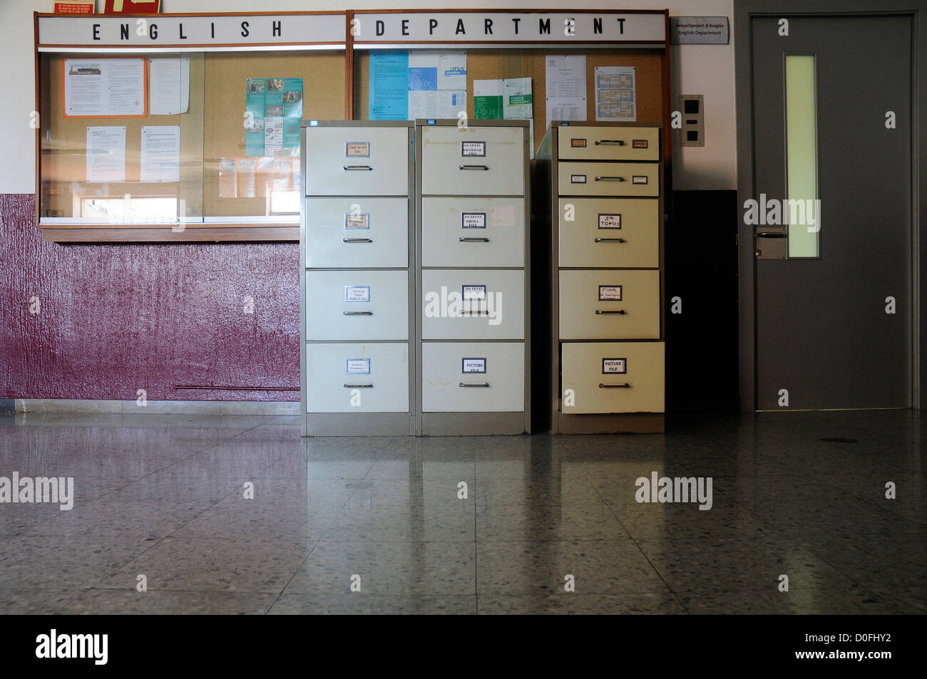 English department metal file cabinets languages school Stock Photo