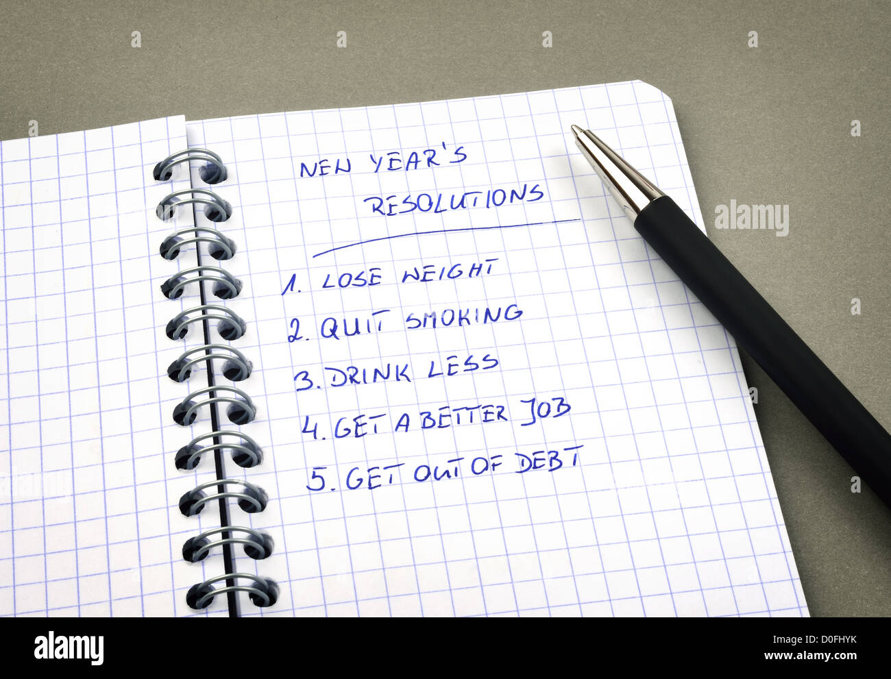 New Year's resolutions listed in notepad - Stock Image