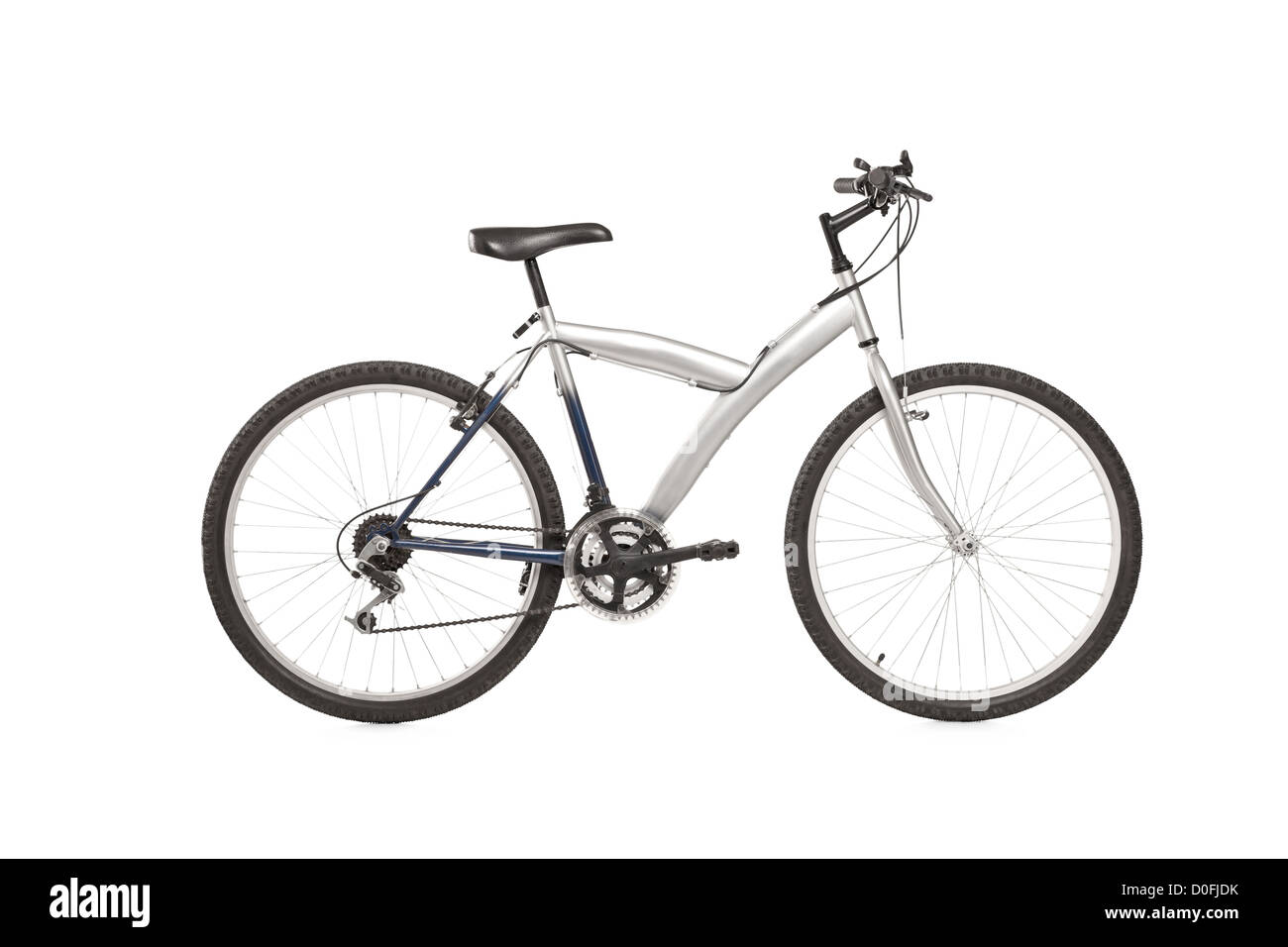 A studio shot of a mountain bike isolated against white background - Stock Image