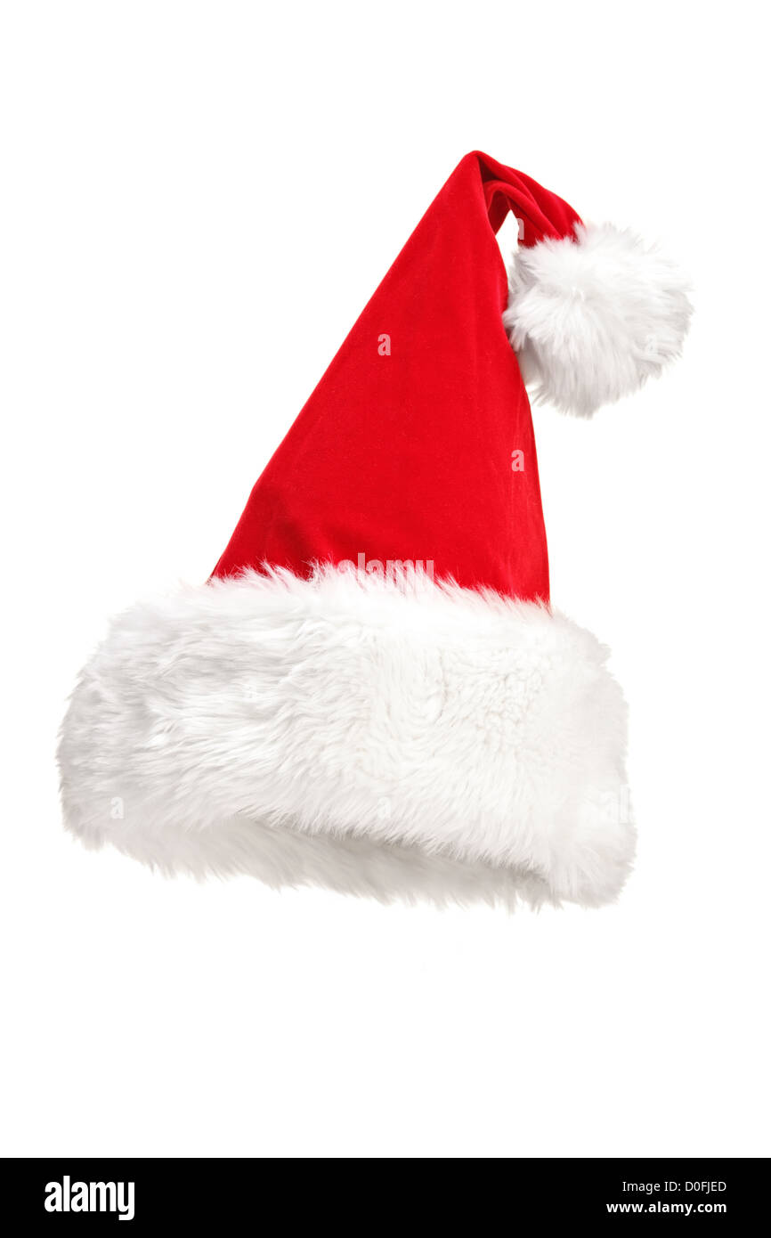 A studio shot of a Santa hat isolated on white background - Stock Image