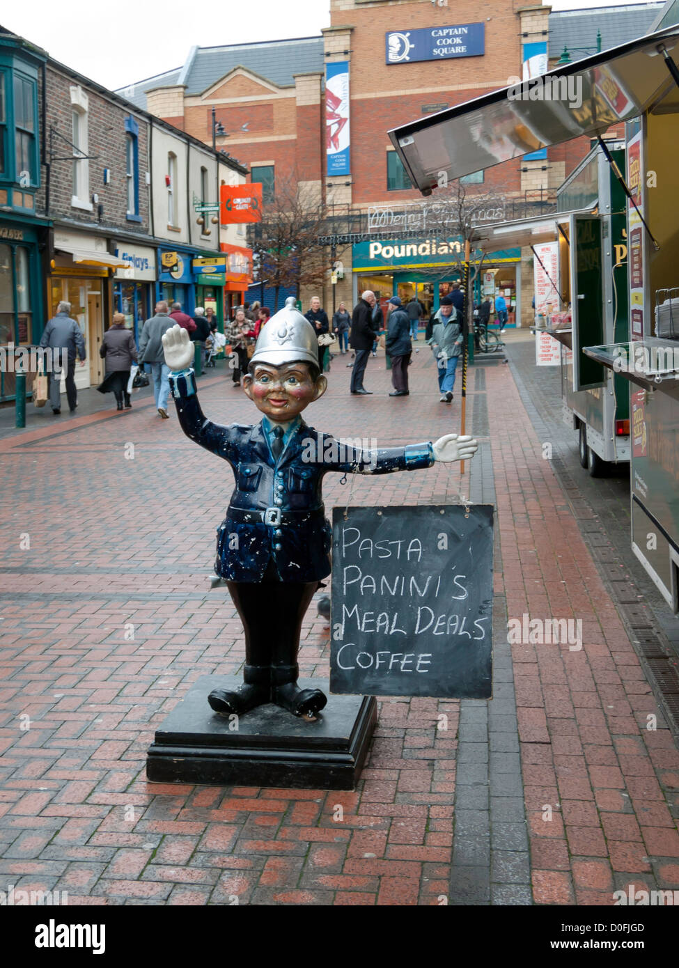 Manikin Policeman advertising a food stall Captain Cook Square shopping centre in Middlesbrough town centre - Stock Image