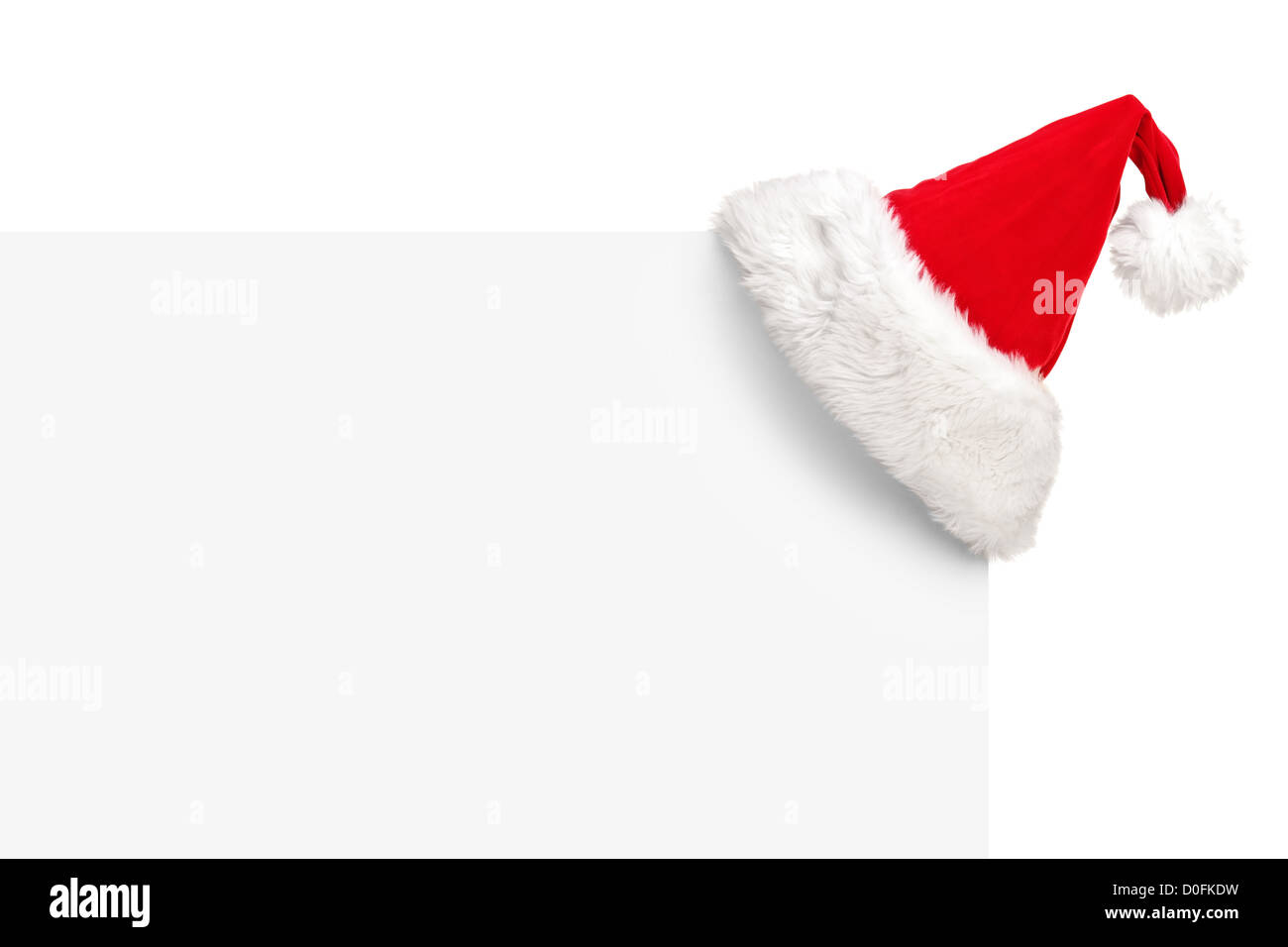 Santa hat on a blank panel isolated on white background - Stock Image
