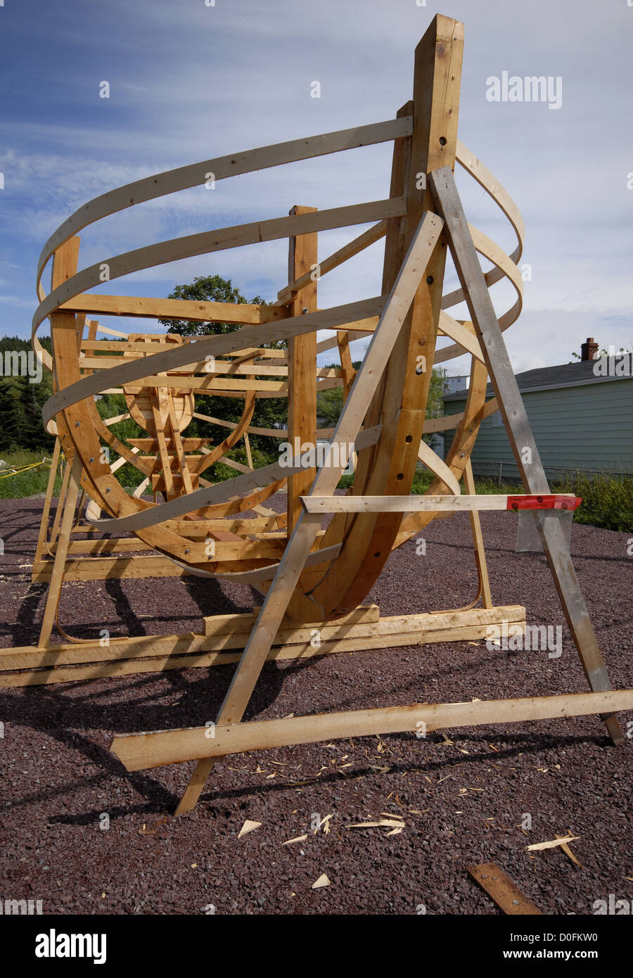 A Boat Under Construction At The Winterton Wooden Boat Museum In