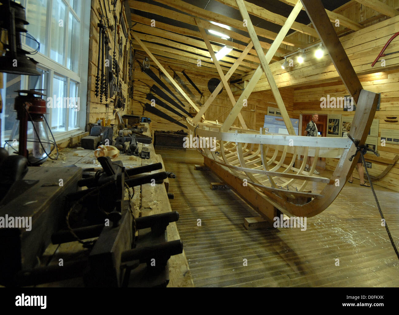 Boats Under Construction At The Winterton Wooden Boat Museum Stock