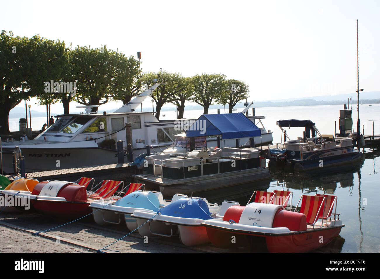 Boats with lake view in Zug, Switzerland Stock Photo