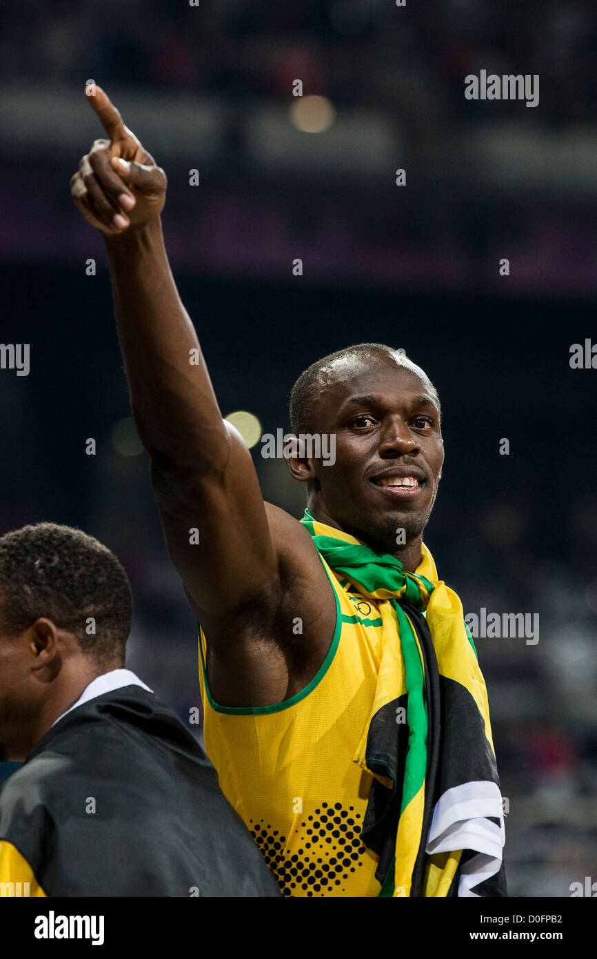 Usain Bolt after winning the gold medal for Jamaican in the 4X100m relay at the Olympic Summer Games, London 2012 - Stock Image