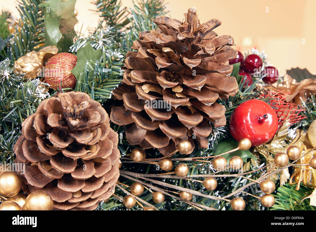 Christmas Tree Garland Decoration With Pine Cones And Artificial Stock Photo Alamy