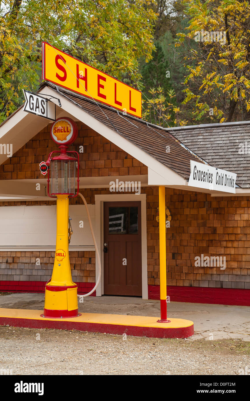 Restored old time Shell gasoline station in South Yuba River State Park, California. - Stock Image