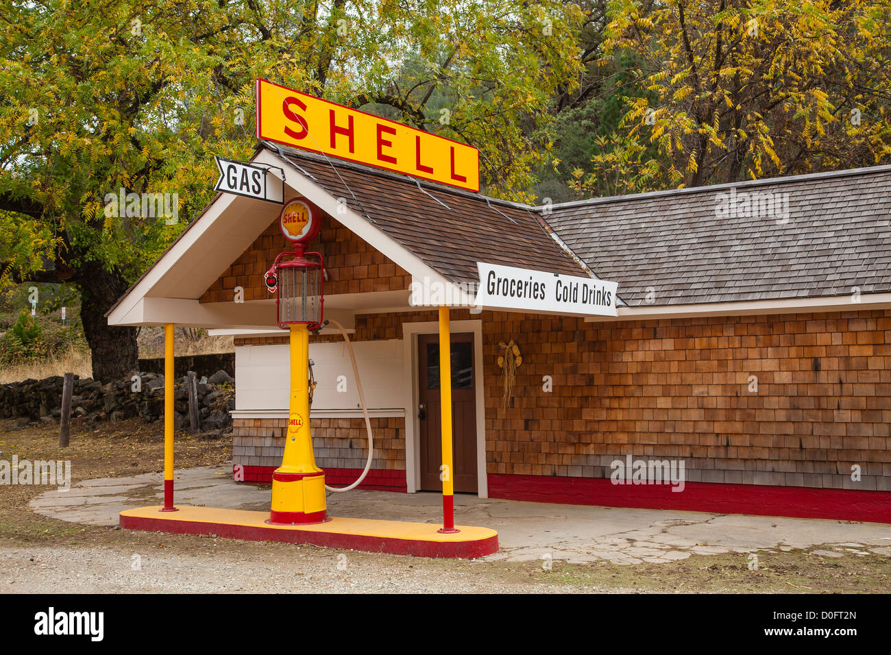 Restored old time Shell gasoline station in South Yuba River State Park, California. Stock Photo