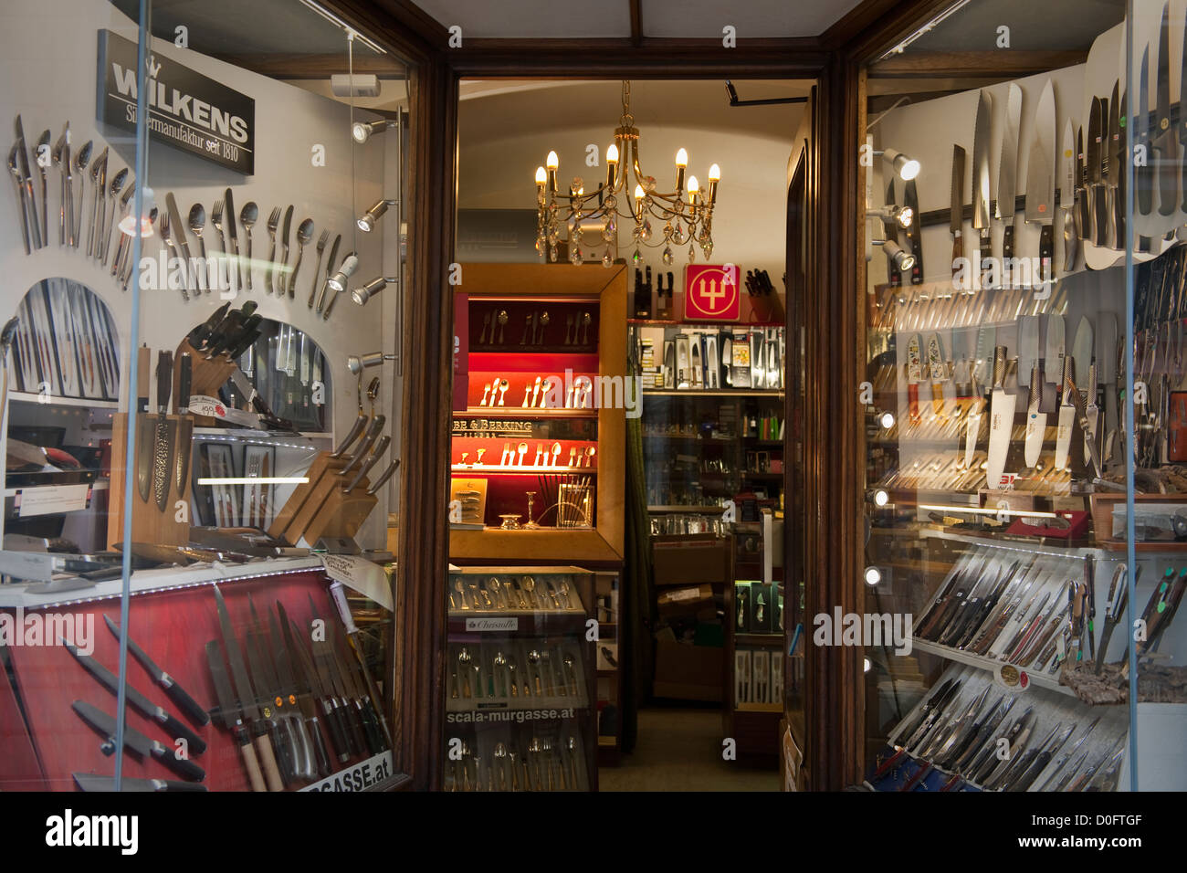 Window display of a shop selling kitchen knives,Graz,Austria Stock ...