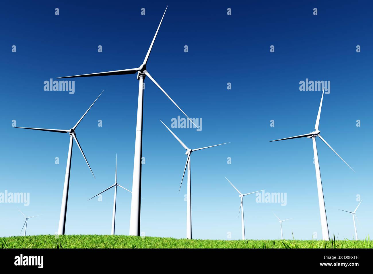 Windfarm  3D render Stock Photo