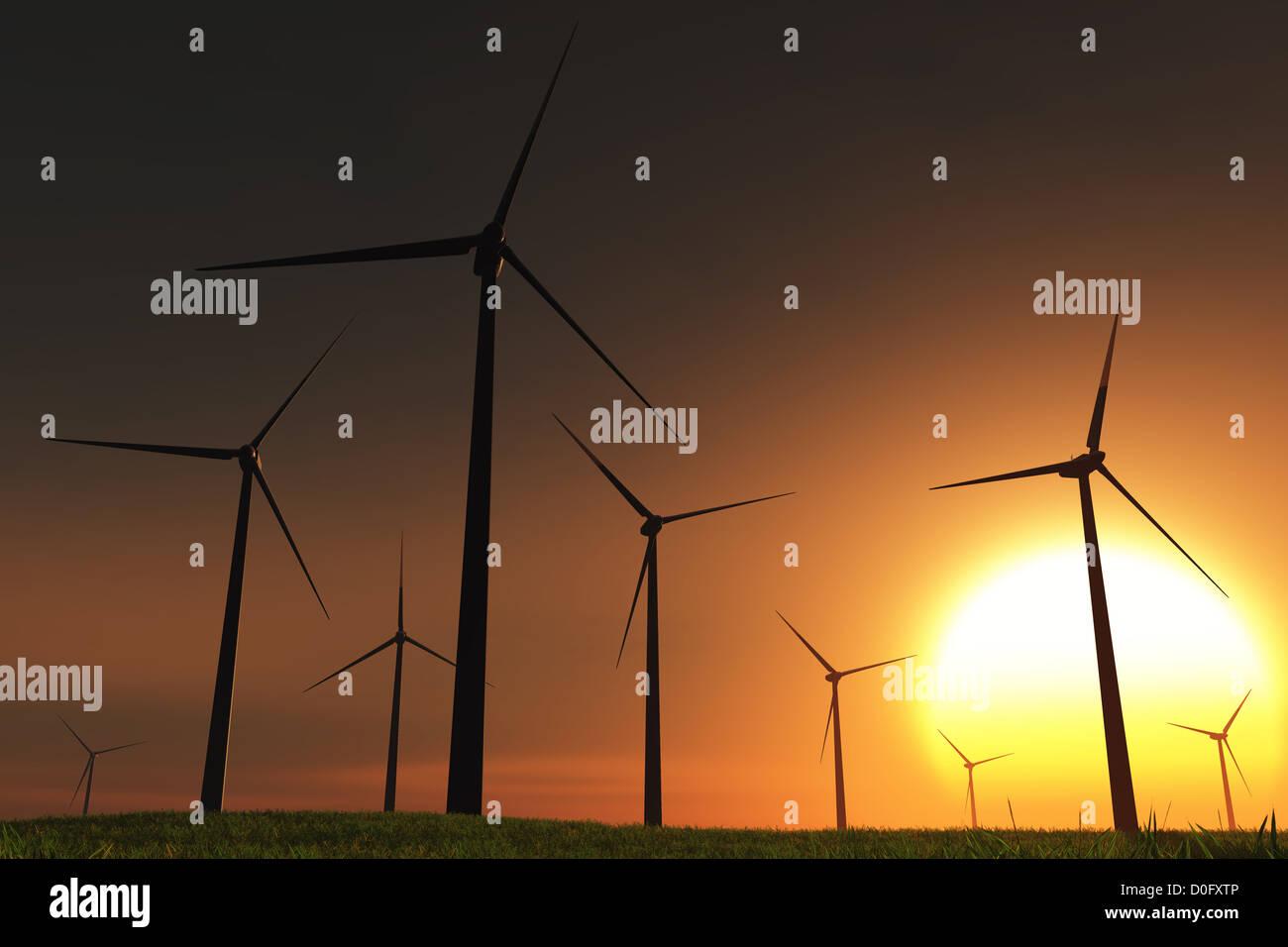 Windfarm in Field sunset sunrise 3D render Stock Photo