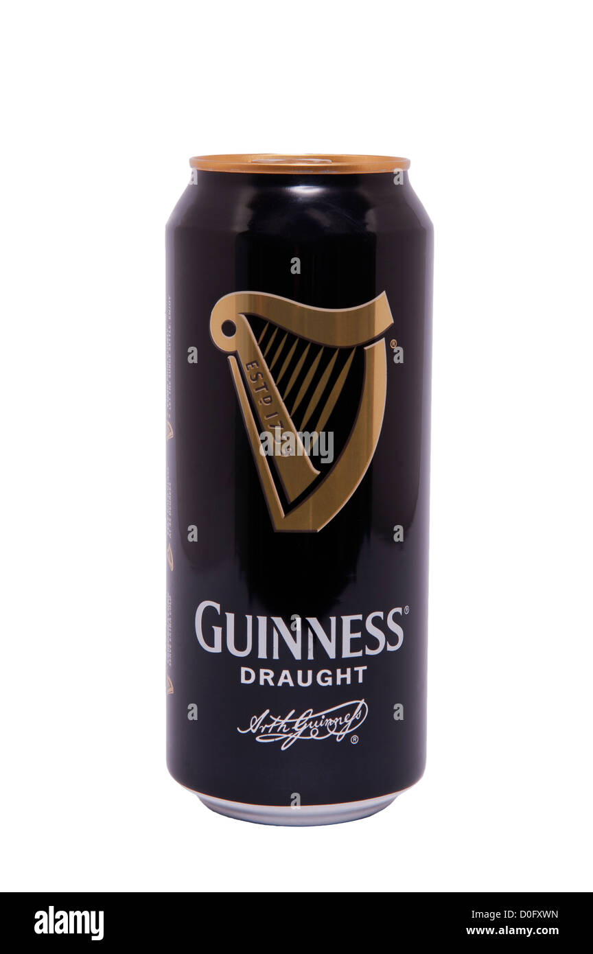 A can of Guinness draught beer on a white background - Stock Image