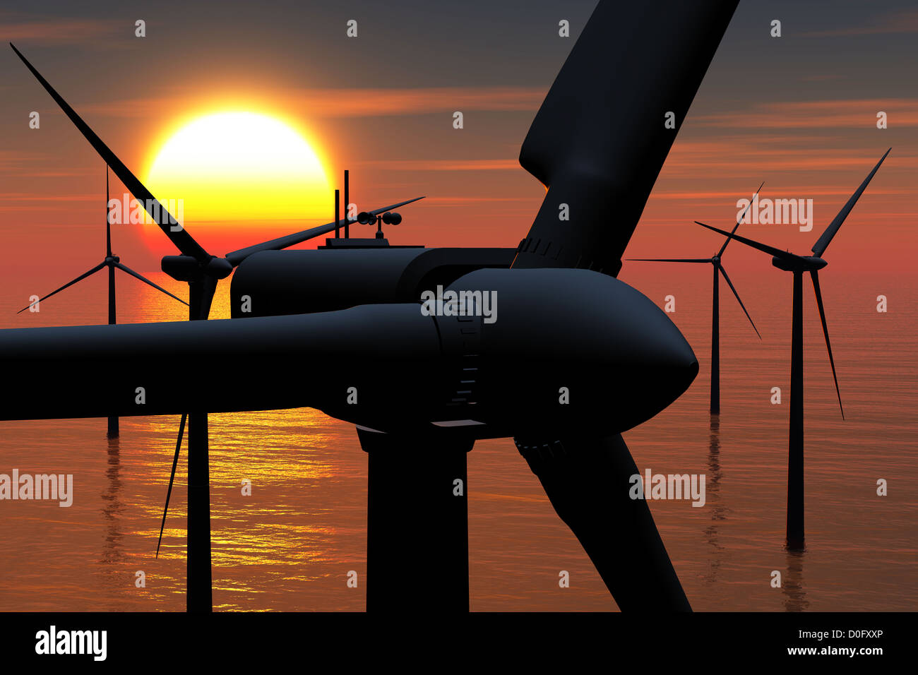 Wind Farm in the Sea sunset 3D render Stock Photo