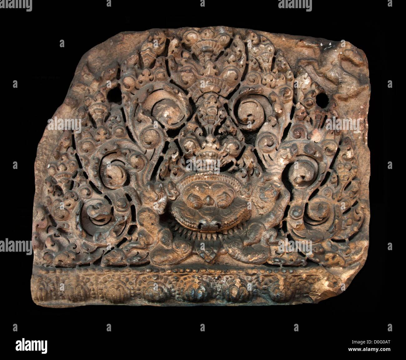 Fragment of Pediment Khmer Art Baphuon style 11th - 12 th Century AD National Museum Bangkok Thailand - Stock Image