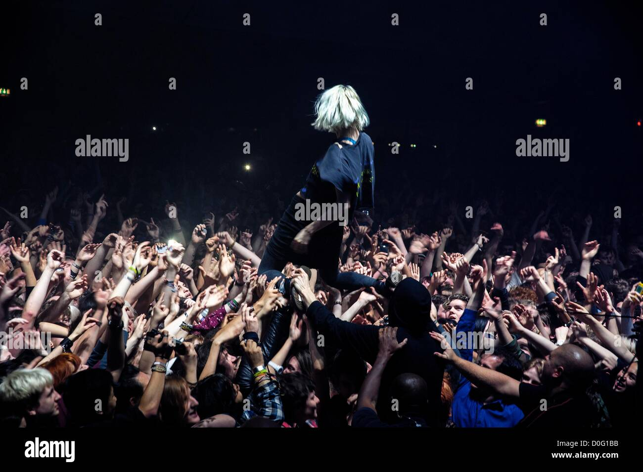 Crystal Castles plays O2 Academy Brixton on 24/11/2012 at O2 Academy Brixton, London. Crystal Castles, a Canadian Stock Photo