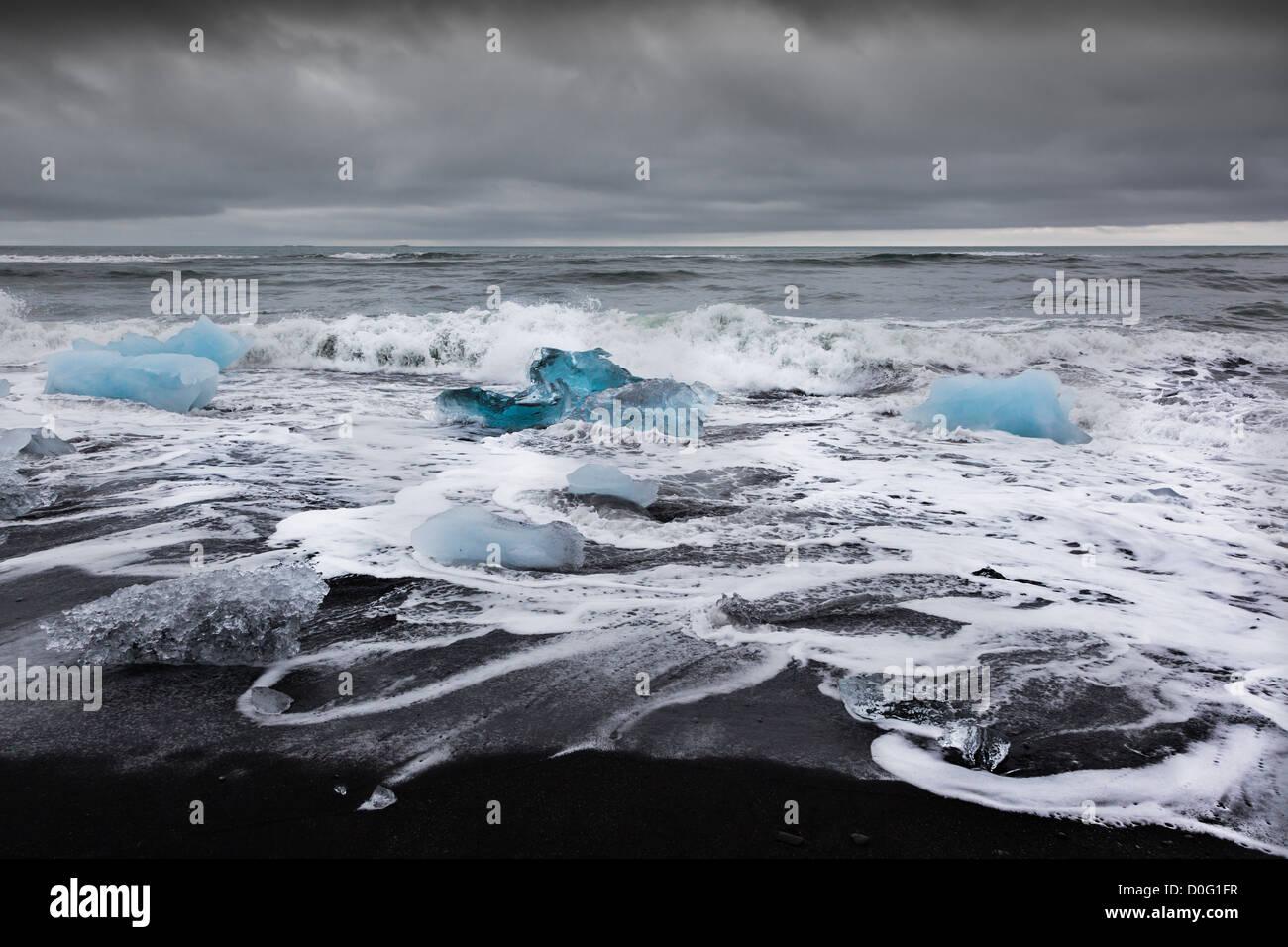 Turquoise ice cubes drift from Jokullsarlon glacier lake to open sea and then land on the black beaches of Breidamerkursandur - Stock Image