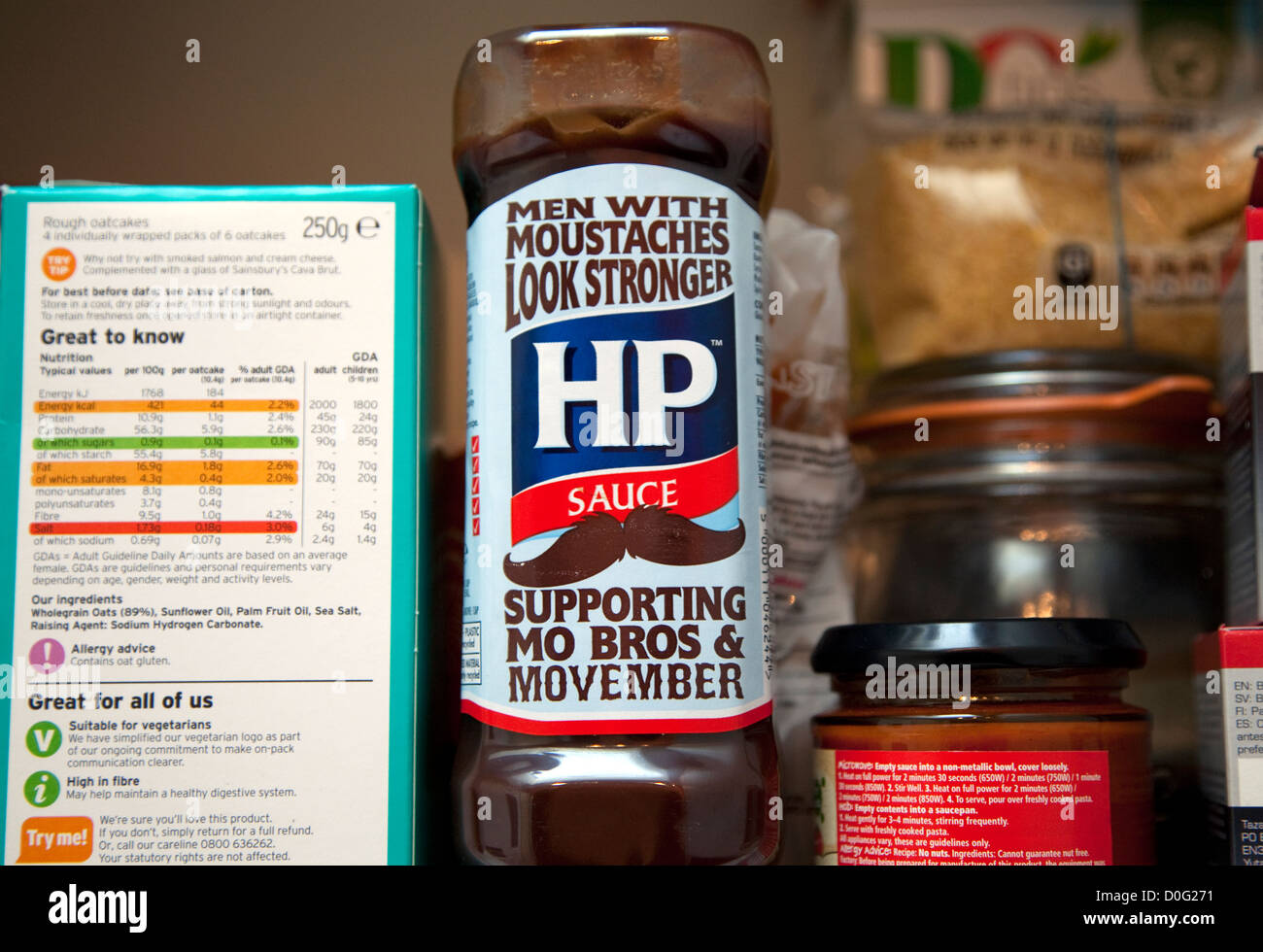 'Movember' bottle of HP sauce, London - Stock Image