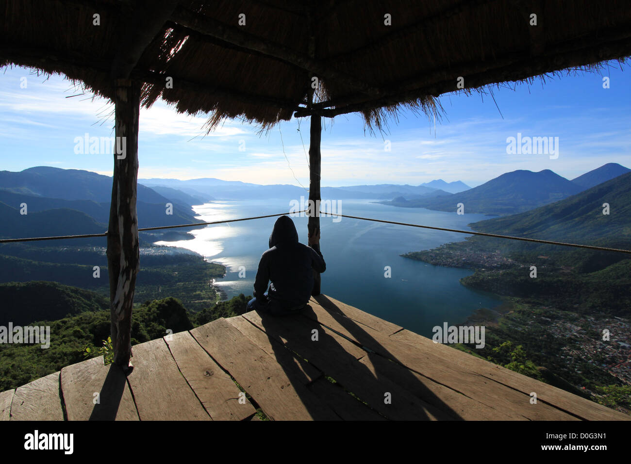 Perched on the Indian Nose in Lake Atitlan, Guatemala - Stock Image