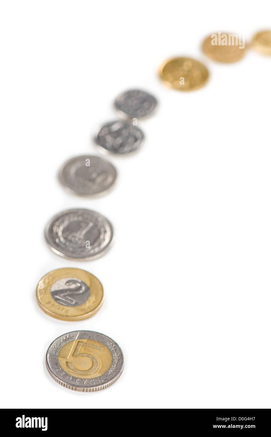 Money gain idea of polish zloty coins - Stock Image