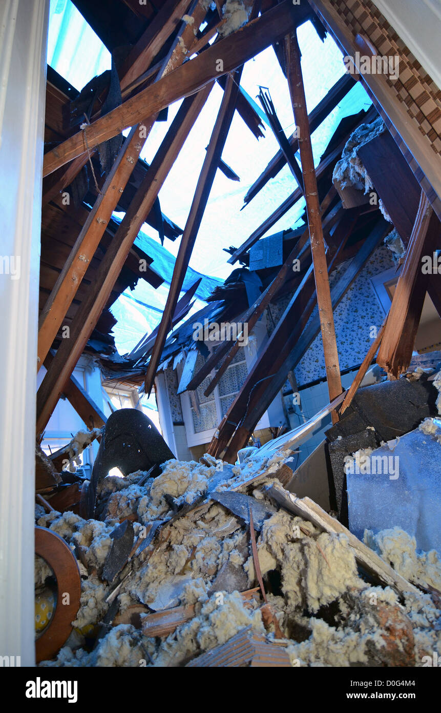 High winds cause damage during storm. When Superstorm Sandy roared through Passaic County the night of Oct. 29, - Stock Image