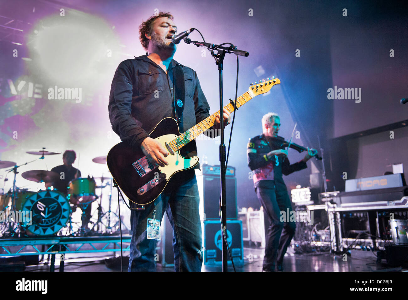 Folk rock band The Levellers in concert at Birmingham O2, 23 November 2012, with Mark Chadwick centre. - Stock Image