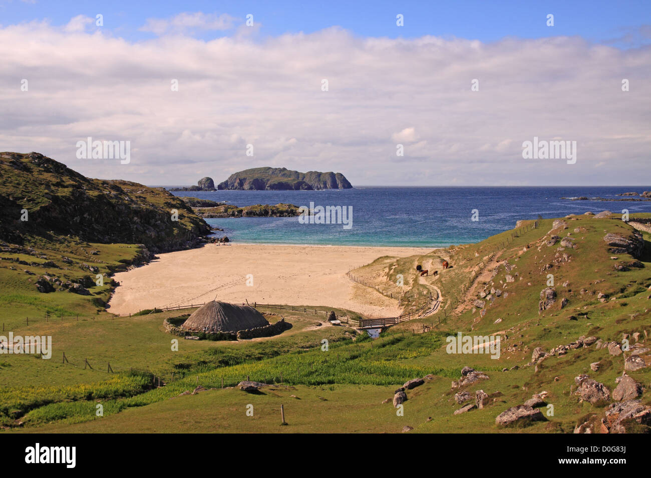UK Scotland Outer Hebrides Isle of Lewis Great Bernery Bosta Iron Age settlement - Stock Image