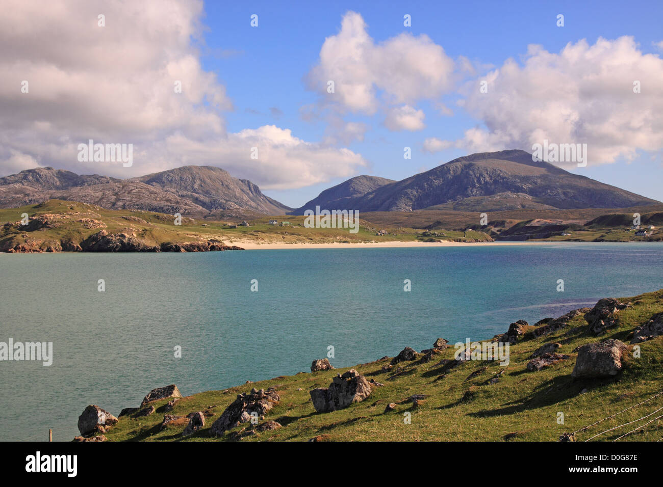 Scotland Outer Hebrides Isle of Lewis Uig Sands and the Harris Mountains - Stock Image