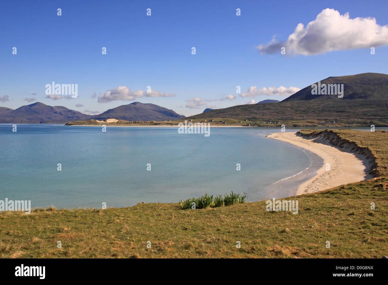 UK Scotland Western Isles Isle of Harris Seilbost Bay and the Harris Mountains - Stock Image