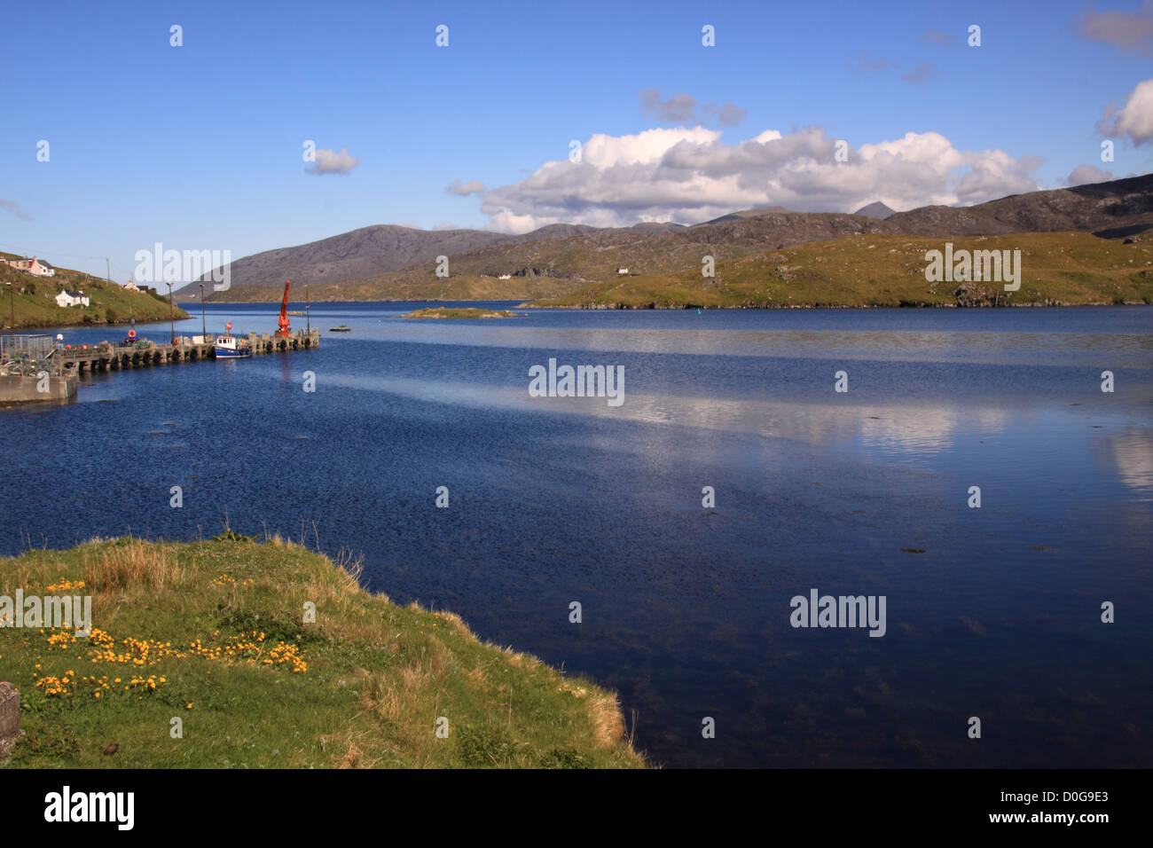UK Scotland Western Isles Outer Hebrides Isle of Harris from the island of Scalpay - Stock Image