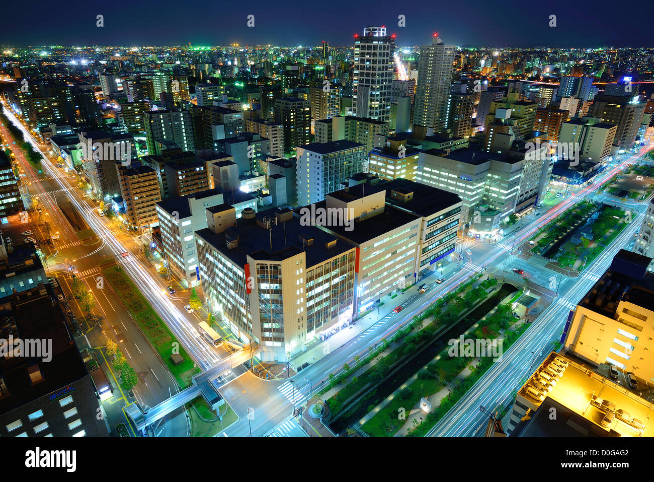 Downtown Sapporo, Japan skyline. - Stock Image