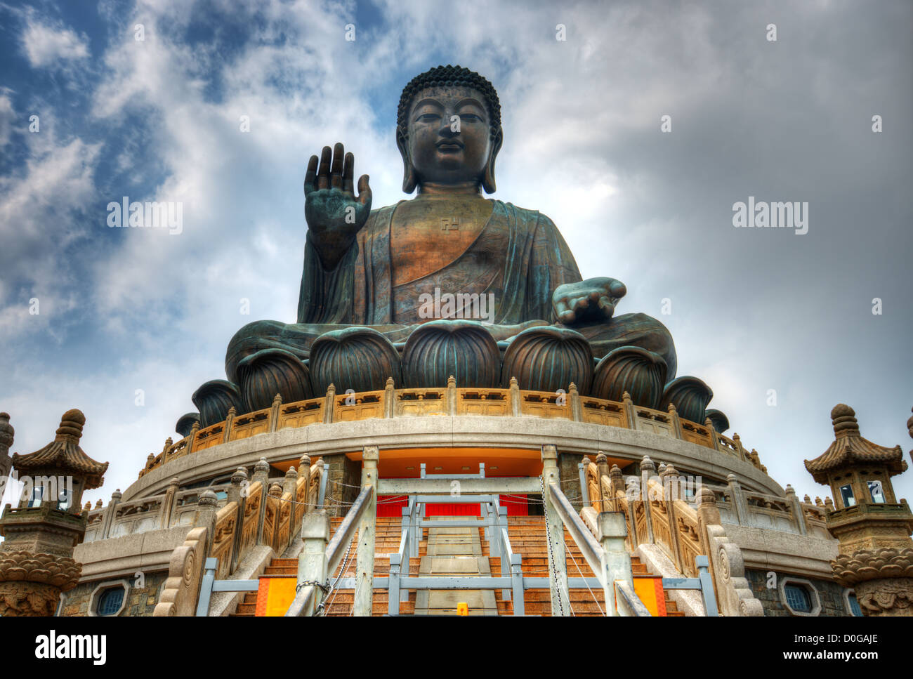 Tian Tan Buddha (Great Buddha) is a 34 meter Buddha statue located on Lantau Island in Hong Kong. - Stock Image