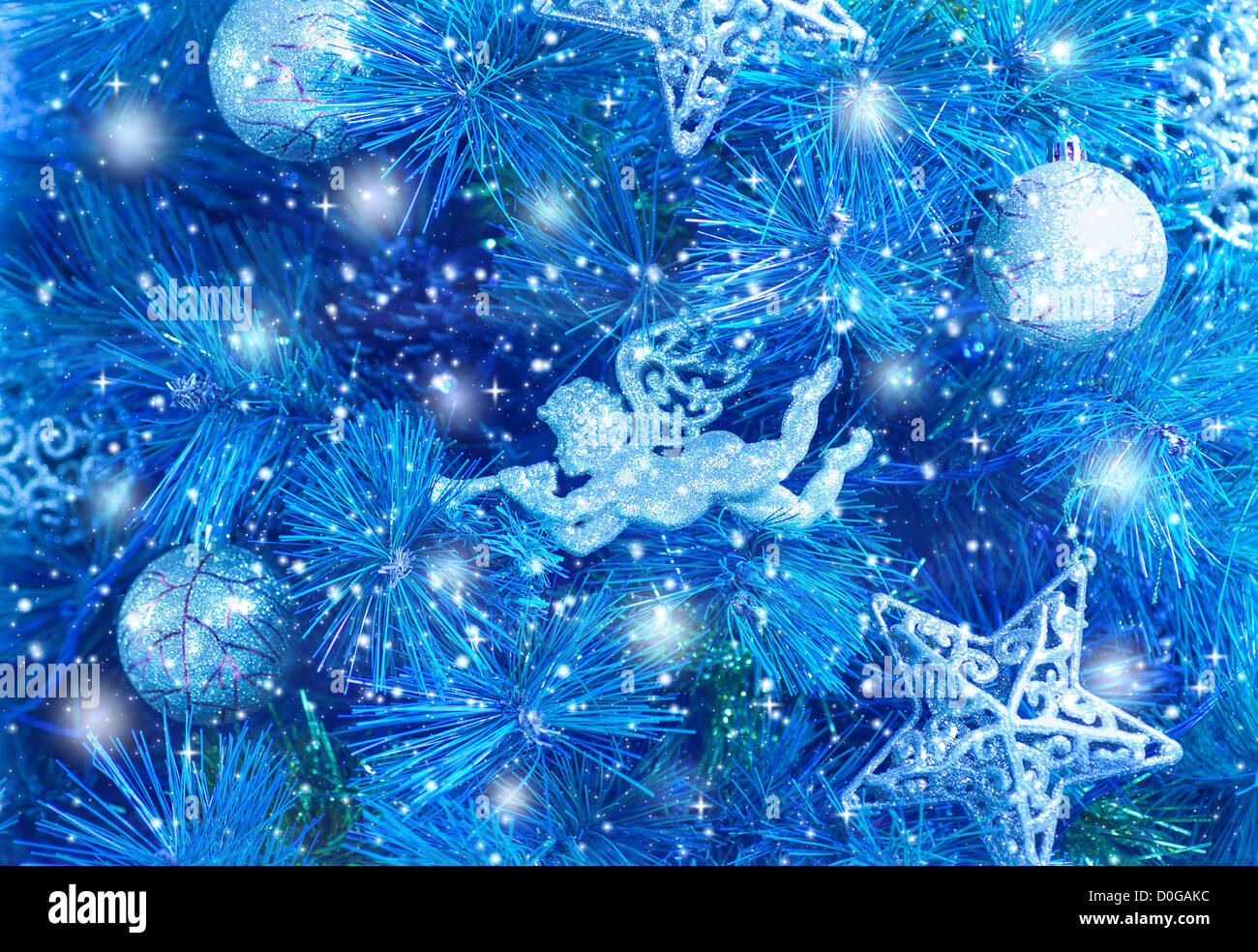 picture of blue christmas tree background christmastime fir decorations D0GAKC